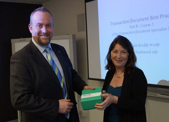 Brett Dashwood presenting Julie Falcone with Pantone Colour of the Year Mug (TDSS AUS01)