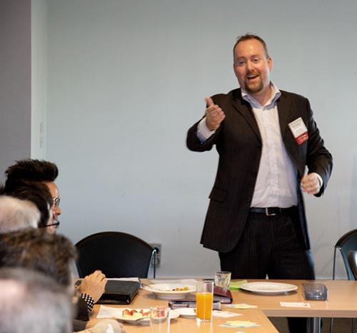Brett Dashwood educating at a business networking event